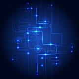 抽象高科技电路蓝色背景 也corel凹道例证向量 免版税库存照片