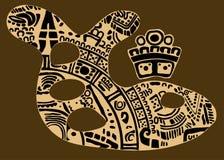 抽象鱼设计与一件古老玛雅装饰品 免版税库存图片