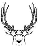 抽象鹿头部族纹身花刺 图库摄影