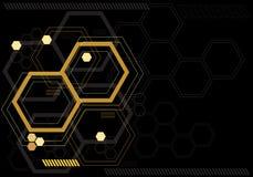 抽象黄色在黑显示器技术computor设计现代未来派传染媒介的六角形数字式图表 向量例证
