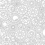 抽象黑色圈子写信油漆飞溅 无缝的模式 手拉的背景 分级显示 库存例证