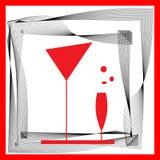 抽象黑色线路红色葡萄酒杯 库存图片
