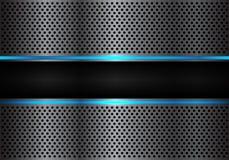 抽象黑蓝线在深灰金属圈子滤网设计现代未来派背景传染媒介的光横幅 免版税库存照片