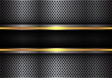 抽象黑黄线在深灰金属圈子滤网设计现代未来派背景传染媒介的光横幅 免版税库存图片