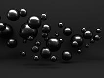 抽象黑发光的金属球形背景 免版税图库摄影