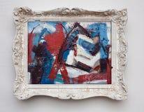 抽象派在葡萄酒古董白色框架的表现主义帆布 免版税图库摄影