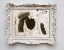 抽象派在葡萄酒古董白色框架的表现主义帆布 图库摄影