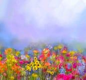 抽象派夏天春天花油画  草甸,与野花的风景 免版税库存照片