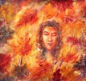抽象绘画 女孩-秋天 秋叶 黄色 红色 免版税库存照片