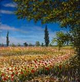 抽象画布五颜六色的用花装饰的油原始绘画 美好的法国风景,红色鸦片的农村风景领域环境美化 现代印象主义 图库摄影