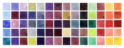 抽象水彩五颜六色的正方形 库存照片