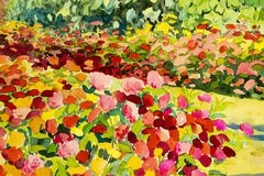 抽象水彩原始的山水画五颜六色秀丽开花 库存图片