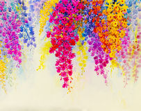 抽象水彩原始的绘画五颜六色兰花开花 免版税库存照片