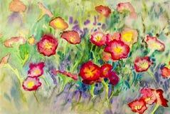 抽象水彩原始的绘画五颜六色喇叭花花 免版税库存照片