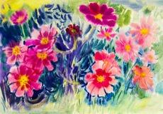 抽象水彩原始的绘画五颜六色墨西哥diasy花 库存图片