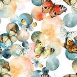抽象水彩圈子和蝴蝶无缝的样式 皇族释放例证