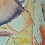 抽象水彩油漆,被绘的织地不很细丝织物帆布背景宏观特写镜头,打印的淡色绿松石,蓝色,米黄 图库摄影