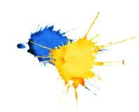 抽象水彩,墨水飞溅 免版税库存图片