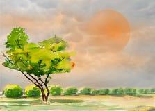 抽象水彩绘五颜六色一棵树在庭院里 免版税库存图片