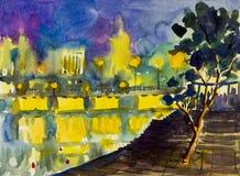 抽象水彩绘五颜六色夜光在城市 免版税库存照片