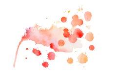 抽象水彩水彩画手拉的五颜六色的形状艺术红颜色油漆或血液泼溅物污点 免版税图库摄影