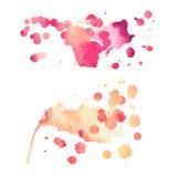 抽象水彩水彩画手拉的五颜六色的形状艺术红颜色油漆或血液泼溅物污点 库存照片