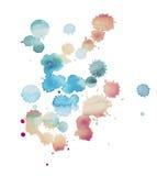 抽象水彩水彩画手拉的污点五颜六色的油漆泼溅物污点 免版税库存图片