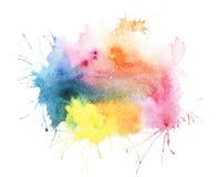 抽象水彩水彩画手拉的污点 免版税库存照片