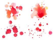 抽象水彩水彩画手拉的红色血液 库存照片