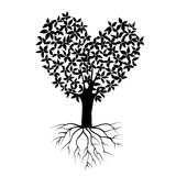 抽象黑心脏树,自然标志,剪影si 皇族释放例证
