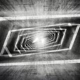 抽象黑暗的脏的具体超现实的隧道内部 库存图片