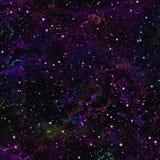 抽象黑暗的紫罗兰色宇宙 星云夜满天星斗的天空 蓝色外层空间 太空星群的纹理背景 无缝例证的绳索 免版税图库摄影