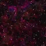 抽象黑暗的紫色宇宙,夏夜满天星斗的天空,洋红色外层空间,太空星群的纹理背景,无缝的例证 库存照片