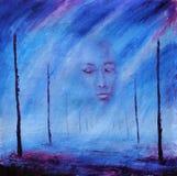 抽象绘画 有雾的面孔 在死亡以后 生活路  杆 紫色 免版税库存照片