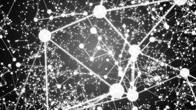 抽象黑白线和小点在背景中互相被连接 免版税图库摄影