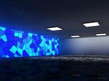 抽象建筑学背景、空的内部和墙壁 3d翻译 免版税库存图片