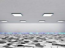 抽象建筑学背景、空的内部和墙壁 3d翻译 库存图片