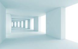 抽象建筑学3d背景,蓝色走廊 库存图片