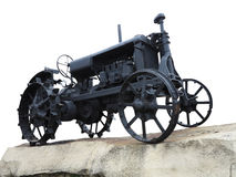 抽象黑老拖拉机被隔绝在白色 库存图片