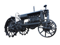 抽象黑老拖拉机被隔绝在白色 免版税库存图片