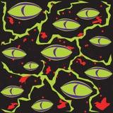 抽象绿色可怕妖怪在与blo的黑背景注视 图库摄影