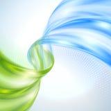 抽象绿色和蓝色波浪 免版税库存照片