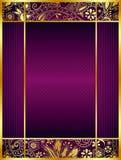 抽象紫色和金花卉背景 皇族释放例证