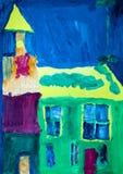 抽象绿色和黄色教会 库存照片