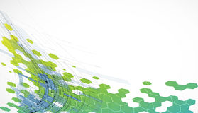 抽象绿色技术六角形背景 免版税库存照片