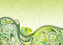 抽象绿色曲线背景 向量例证