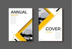 抽象黄色现代盖子书小册子模板,设计 库存照片