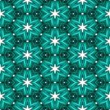 抽象绿色纹理或背景与白色星与圣诞节神色使无缝 向量例证