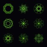 抽象绿色霓虹形状和分数维收藏在传染媒介 免版税图库摄影