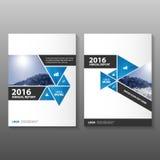 抽象黑蓝色年终报告传单小册子飞行物模板设计,书套布局设计 图库摄影